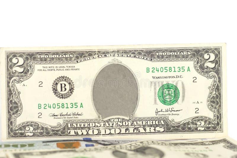 Löschen Sie zwei Dollarschein stockbilder