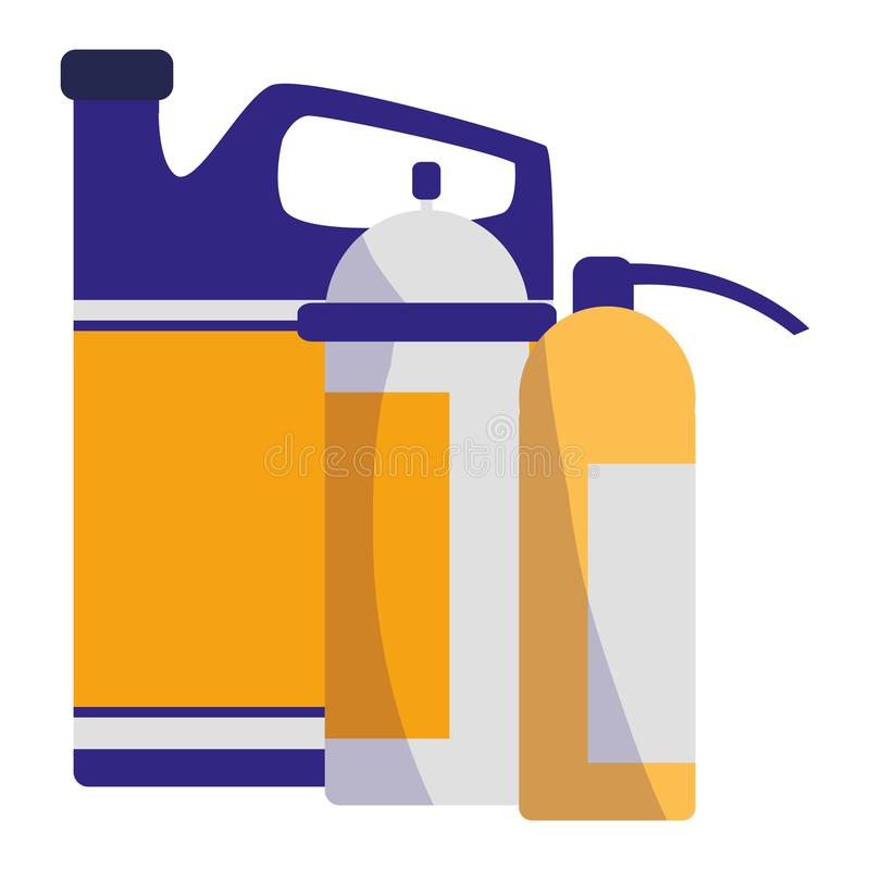Löscherfeuer mit Ölgallone stock abbildung