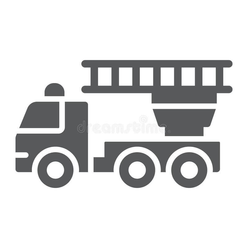 Löschfahrzeug Glyphikone, Notfall und Feuer, Firetruckzeichen, Vektorgrafik, ein festes Muster auf einem weißen Hintergrund vektor abbildung