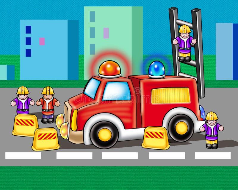 Löschfahrzeug-Zusammenfassungshintergrund Farbiges Bild lizenzfreie abbildung