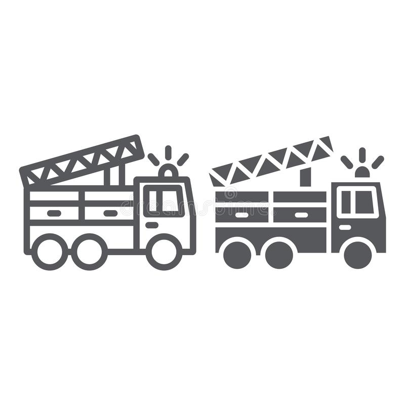 Löschfahrzeuglinie und Glyphikone, Transport und Notfall, Feuerwehrmannautokennzeichen, Vektorgrafik, ein lineares Muster auf a vektor abbildung