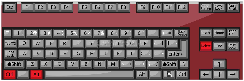 Löschung der Kombinationsknopf-Tastatur Ctrl Alt stock abbildung