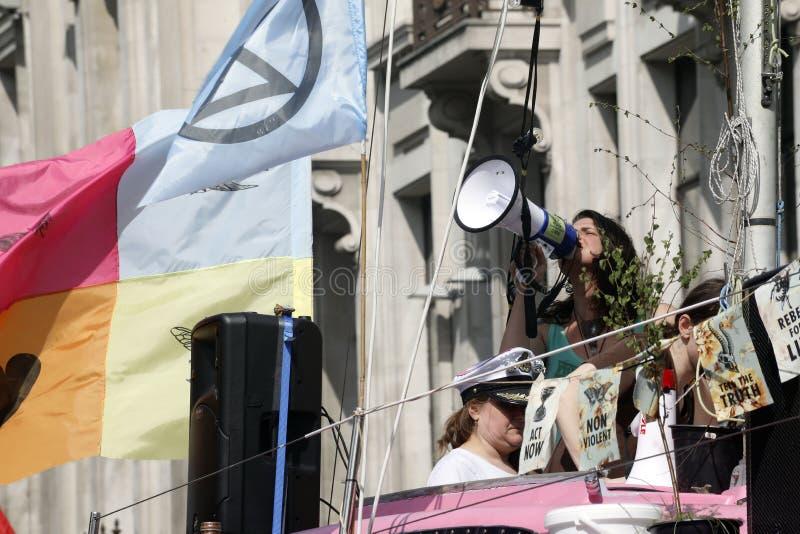 Löschungsaufstandsprotest-Oxford-Zirkus London lizenzfreies stockbild