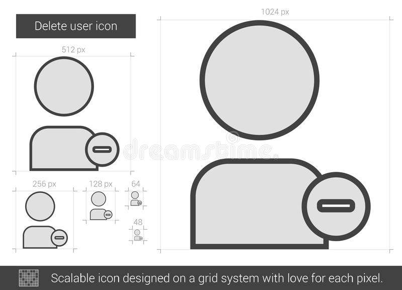 Löschungsbenutzerlinie Ikone vektor abbildung