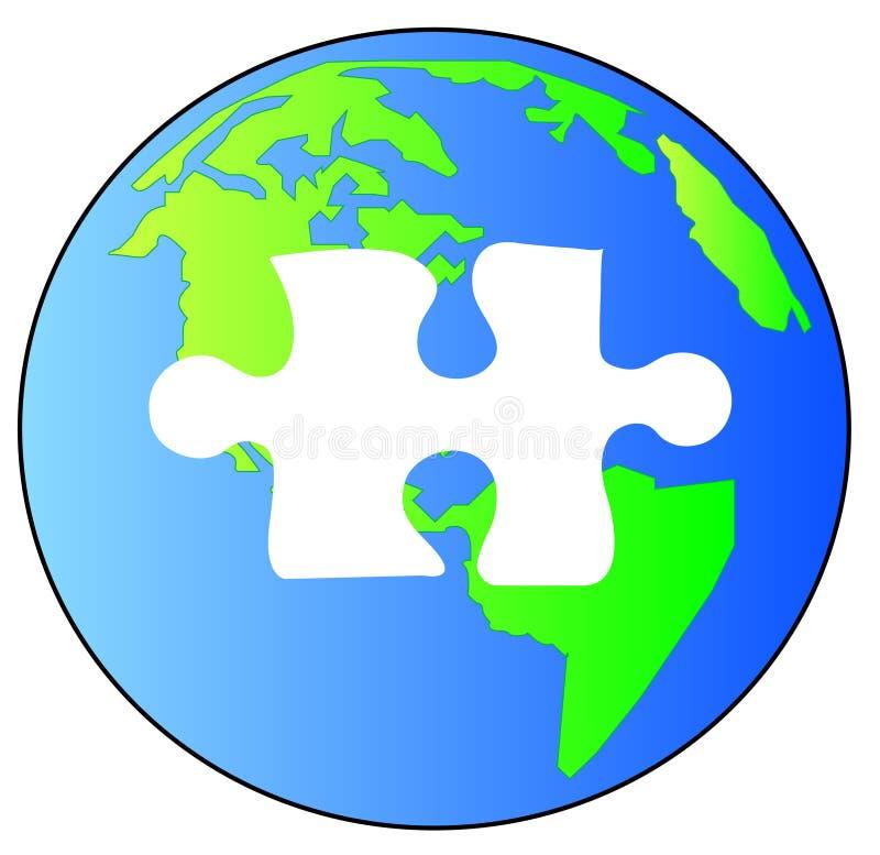 Lösen des Puzzlespiels von Erde lizenzfreie abbildung