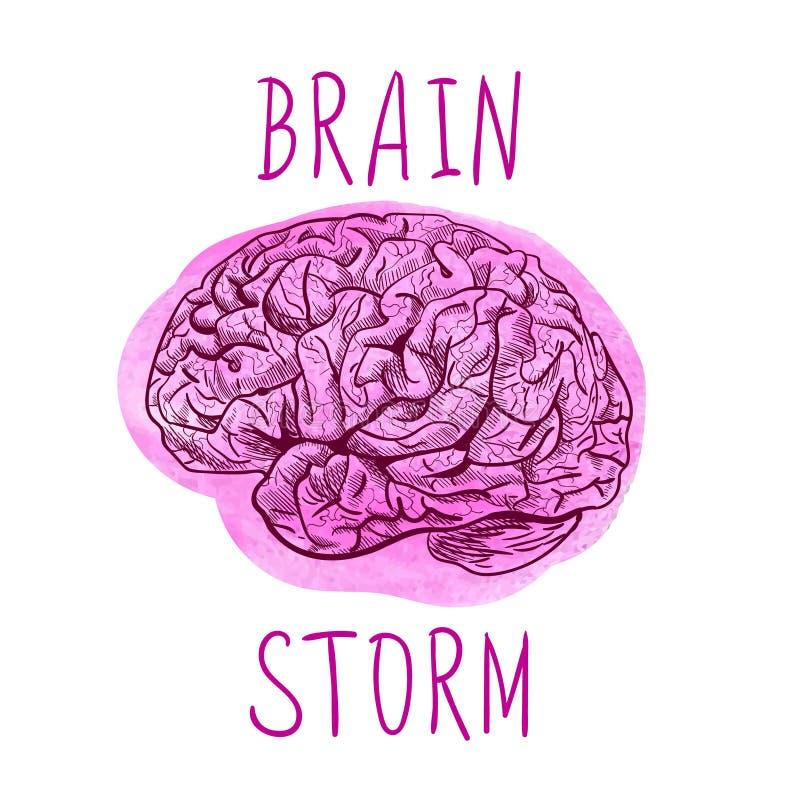 LÖSEN Sie Buchstaben und Entwurfszeichnung des menschlichen Gehirns auf Farbenstelle gedanklich stock abbildung