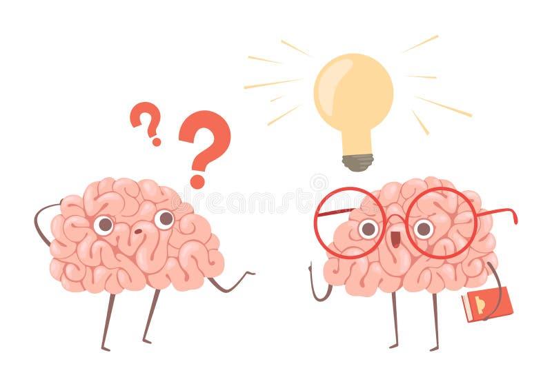 Lösen- von Problemenvektorkonzept Karikaturgehirne, die an Illustration des Problems und neue der Idee der Entdeckungen denken lizenzfreie abbildung