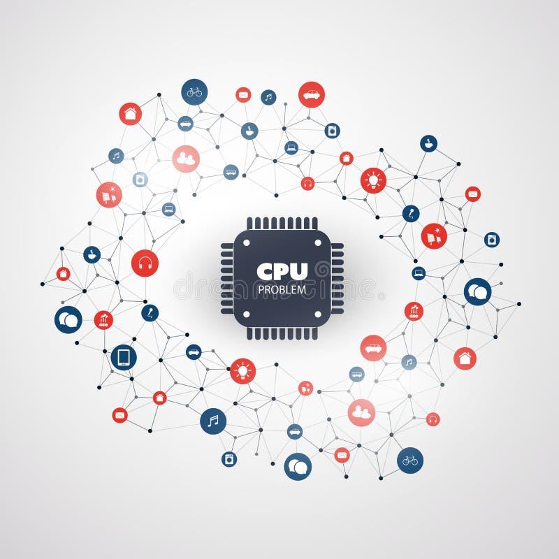 Lösenord- eller dataläcka i CPU-fel för datorer och för apparater tack vare och sårbarheter - design för IT-säkerhetsbegrepp vektor illustrationer