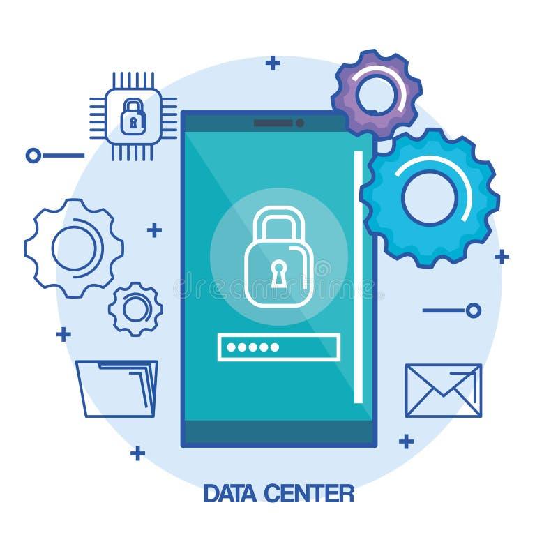 Lösenord för datorhallmobiltelefonsäkerhet royaltyfri illustrationer