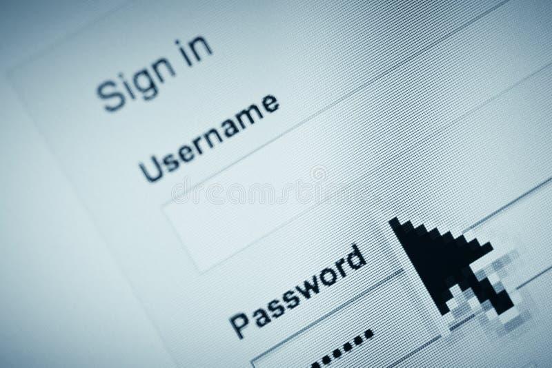 Lösenord- och användarnamnsida arkivbild