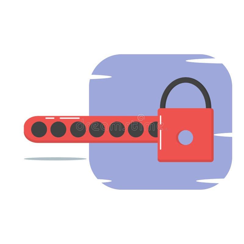Lösenord skyddad illustration för stil för begrepp för informationssäkerhet plan - vektor stock illustrationer