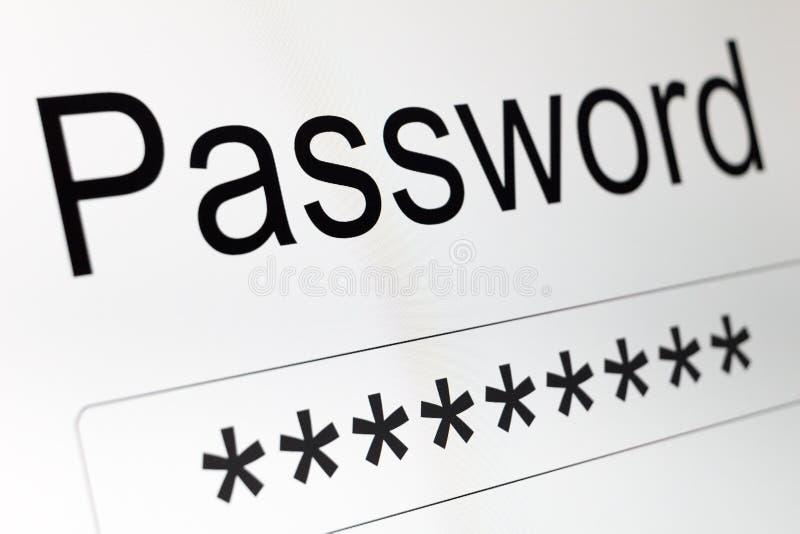 Lösenordask på LCD-skärmen royaltyfri fotografi