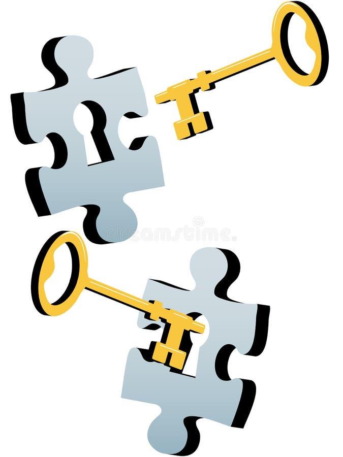 löser det key låspussel för jigsawen för att låsa upp stock illustrationer