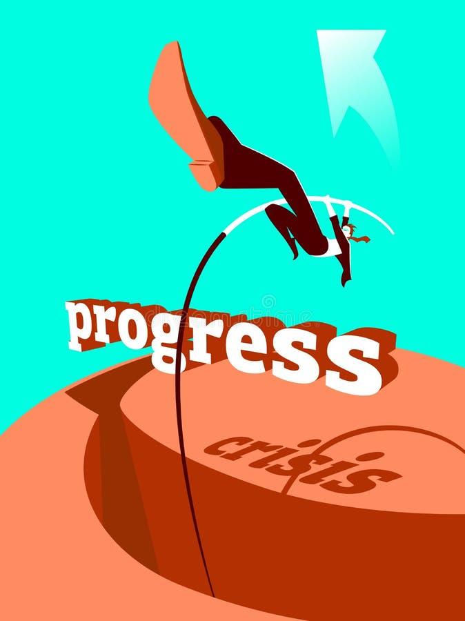 Lösning av krisen progress Stavhopp vektor illustrationer