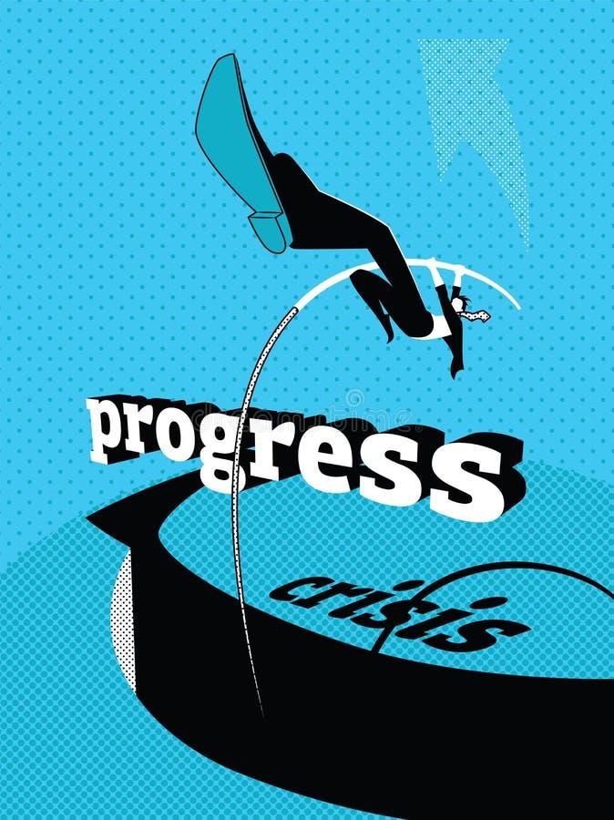 Lösning av krisen progress Stavhopp stock illustrationer