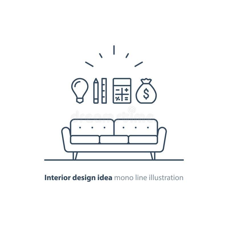 Lösning för inredesign, hem- renoveringplanläggningssymboler vektor illustrationer