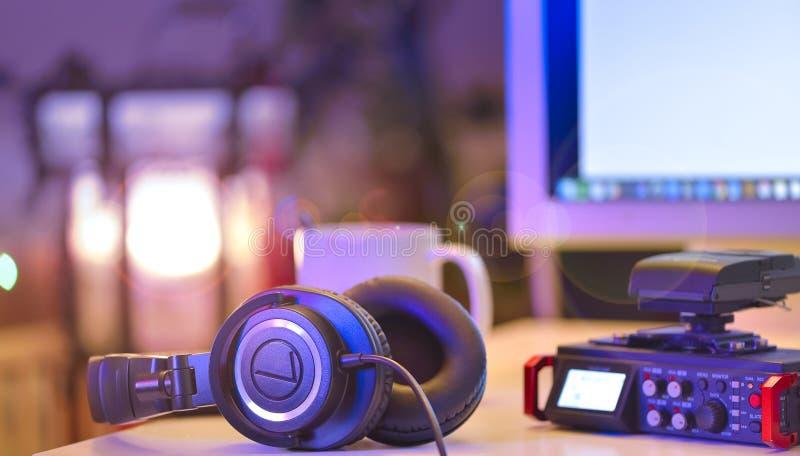 Lösning för ljudsignalinspelning för filmskapare Linjär PCM-registreringsapparat arkivfoto