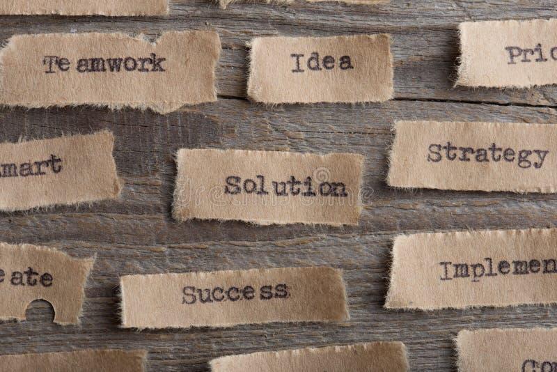 Lösning - ord på ett stycke av pappersslut upp, idérikt motivationbegrepp för affär fotografering för bildbyråer