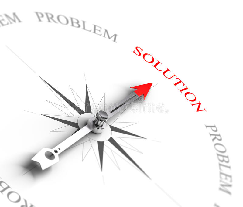 Lösning vs problemlösning - konsultera för affär stock illustrationer