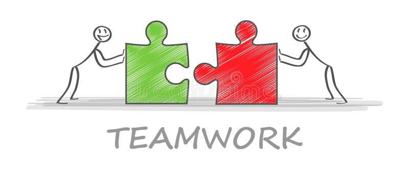 lösningar Affärslag och partner som tillsammans arbetar bakgrund Illustration för vektor för begreppsaffärsaffär stock illustrationer