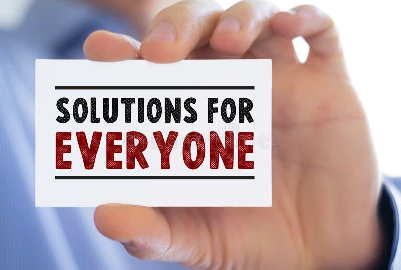 Lösningar för alla - meddelande för affärskort arkivbild