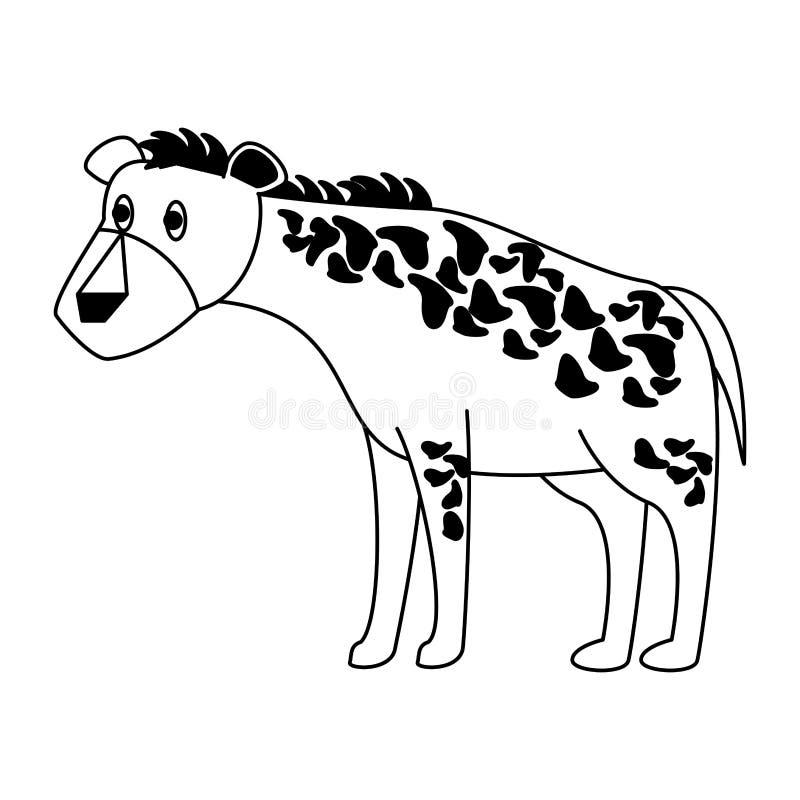 Löst djur för hyena i svartvitt vektor illustrationer