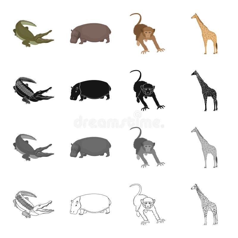 Löst djur, krokodilreptil, flodhäst, apa, högväxt giraff Olik sort av symboler för djuruppsättningsamling i tecknad film royaltyfri illustrationer