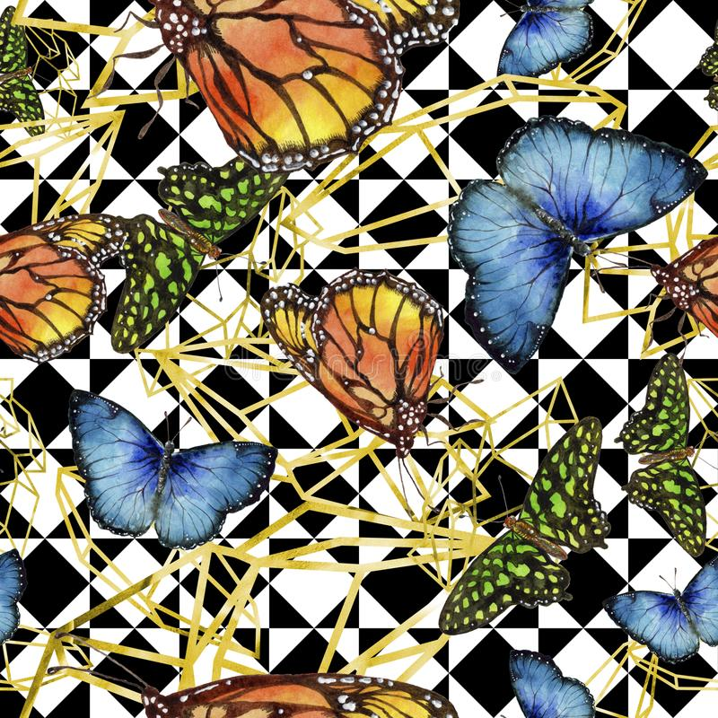 Löst kryp för exotiska fjärilar i en vattenfärgstil Seamless bakgrund mönstrar stock illustrationer