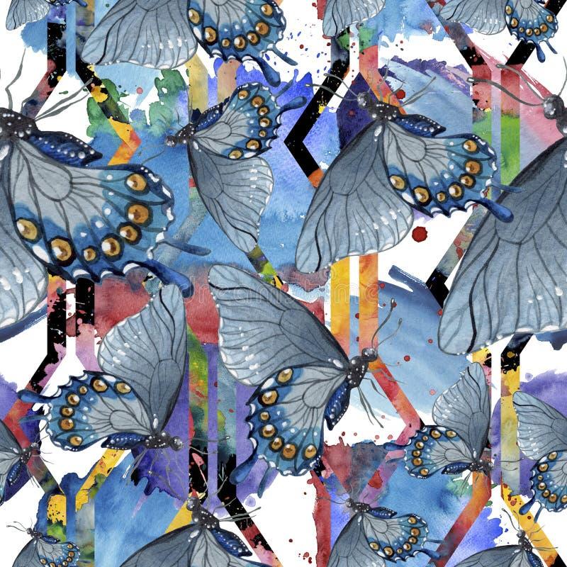 Löst kryp för exotiska fjärilar i en vattenfärgstil Seamless bakgrund mönstrar royaltyfri illustrationer
