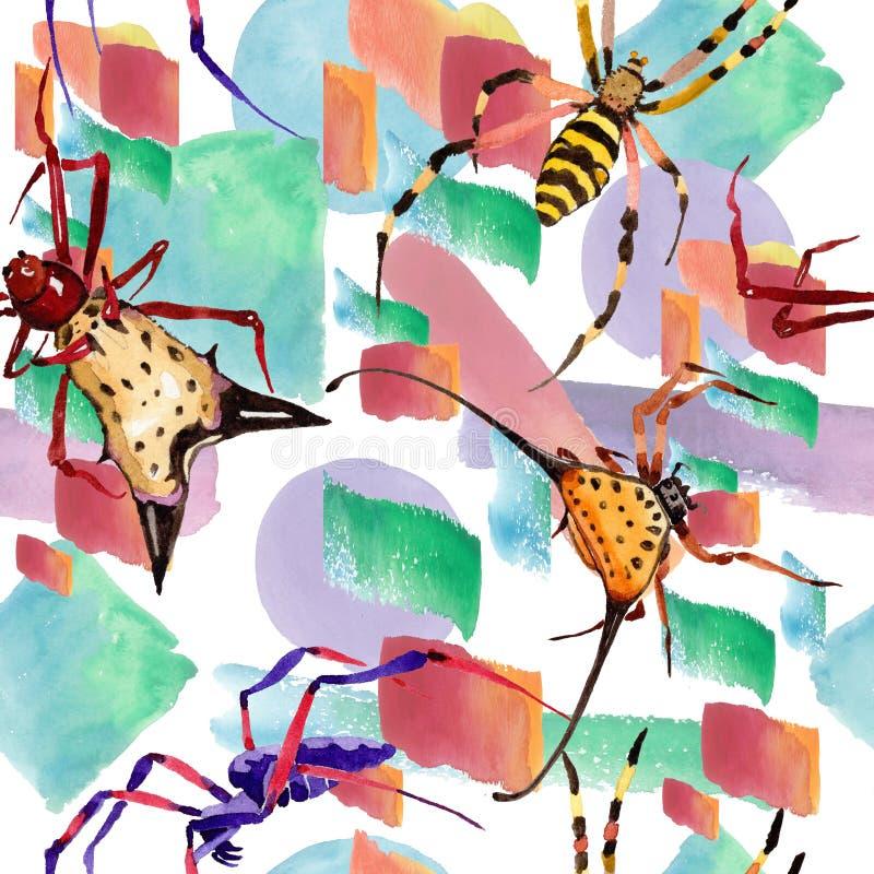 Löst kryp för exotiska spindlar i en vattenfärgstil Seamless bakgrund mönstrar stock illustrationer