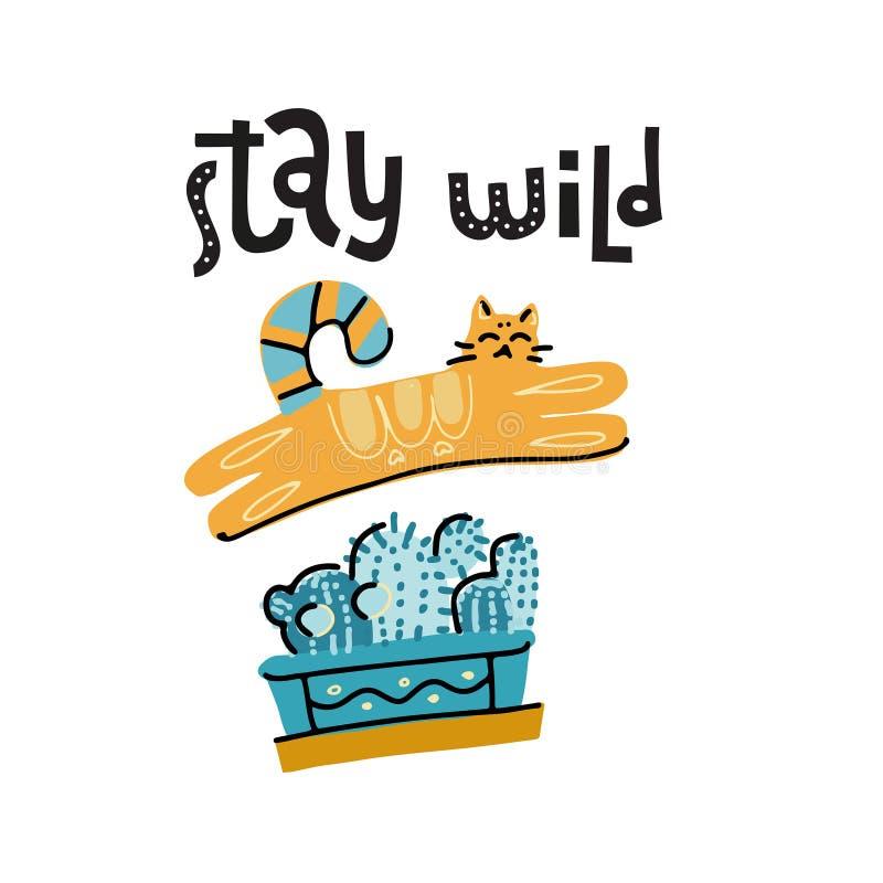Löst stag - dragen hand märka text om husdjuret, positiv citationsteckenaffisch Gullig katt som juming ovanför kaktuskrukan Stygg stock illustrationer