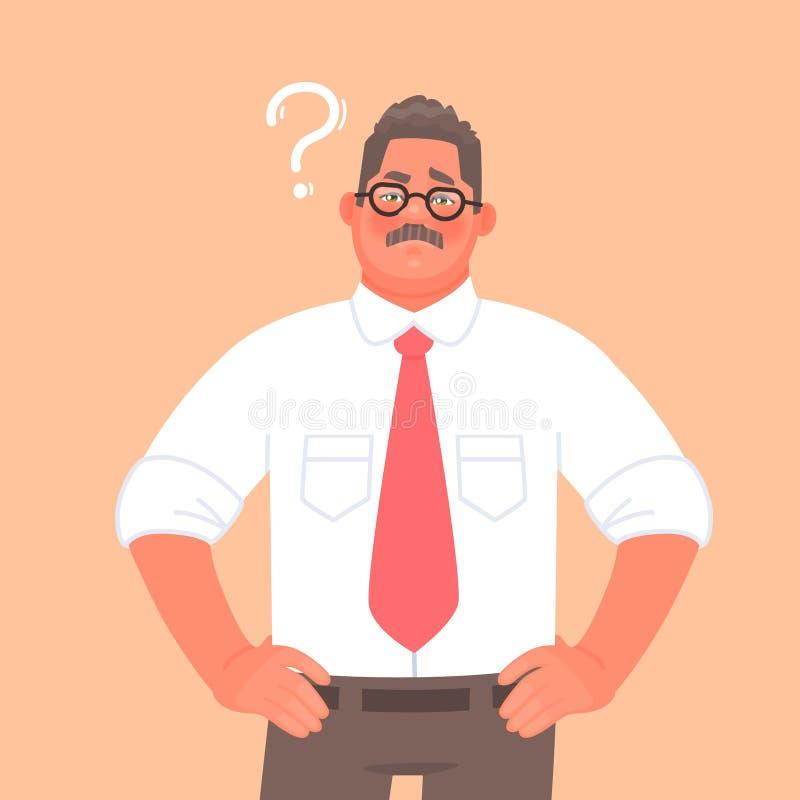 Lösung zum Problem oder zur Wahl Ein Geschäftsmann oder ein Unternehmer denkt Fragezeichen als Wasserkr?uselung lizenzfreie abbildung