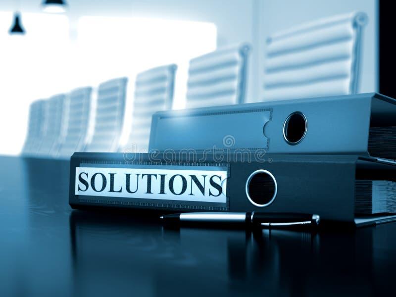 Lösungen auf Ordner Getontes Bild lizenzfreies stockfoto