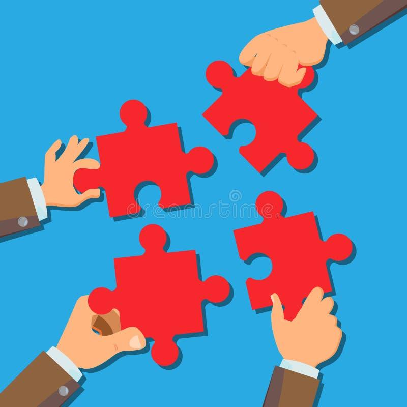 Lösungs-Konzept-Vektor Geschäftsmann-Hands Connecting Puzzle-Stücke Erfolgreiche Produkteinführung des Starts Verwirrendes Geschä lizenzfreie abbildung