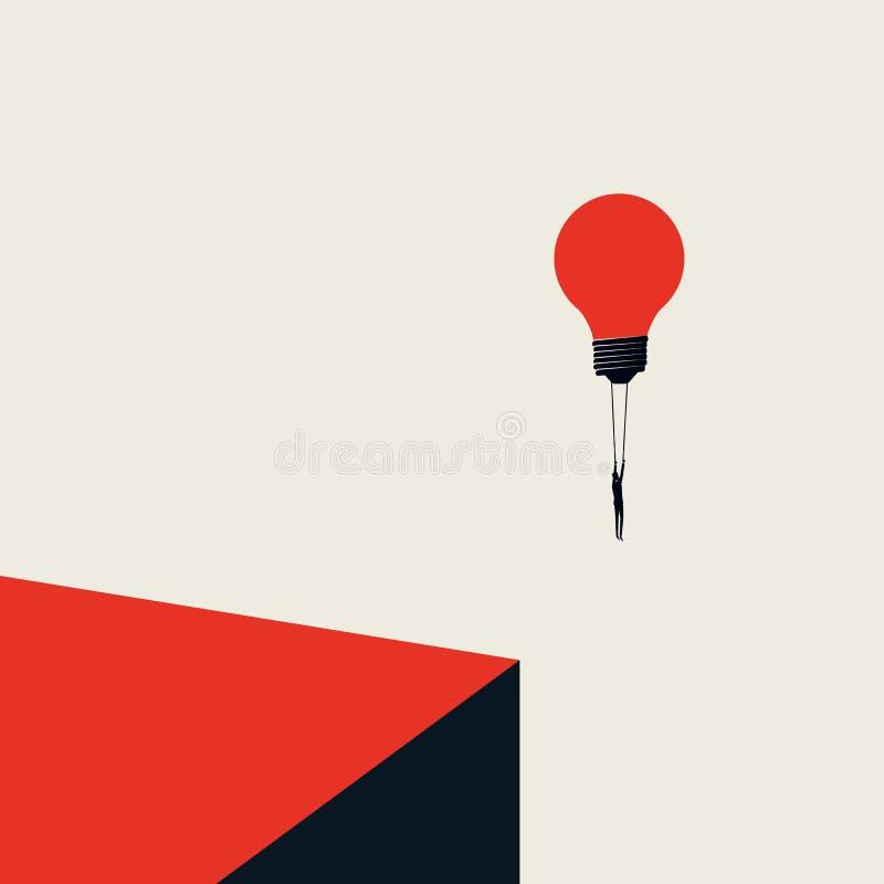 Lösungs-Vektorkonzept des Geschäfts kreatives mit Geschäftsmannfliegen mit Glühlampe Unbedeutende k?nstlerische Art Symbol von stock abbildung