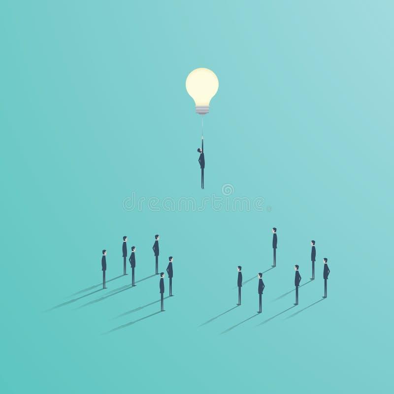 Lösungsgeschäfts-Vektorkonzept der kreativen Idee bestes Geschäftsmannfliegen auf einer Glühlampe als Symbol der Kreativität stock abbildung