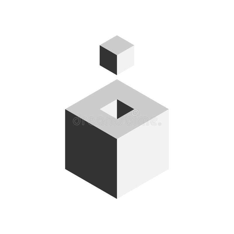 Lösungsgestaltungselementkonzept Block von Würfeln 3D mit letztem Stück draußen Auch im corel abgehobenen Betrag stock abbildung