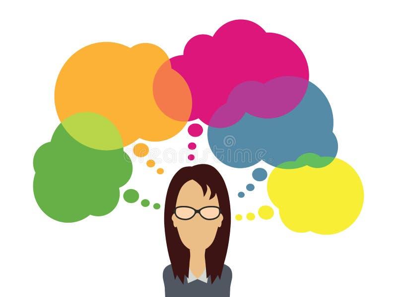 Lösungsvektorillustration der Geschäftsfrau denkende stock abbildung