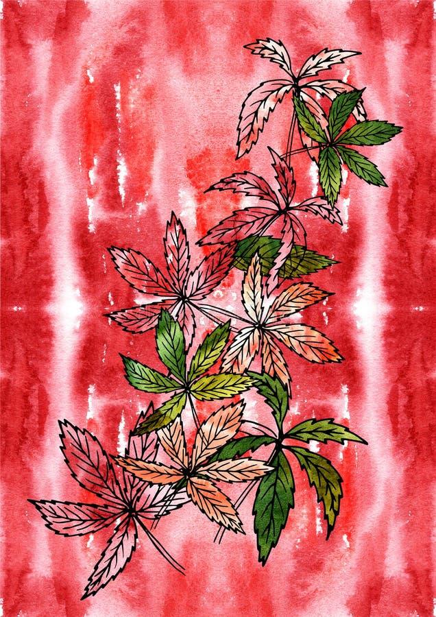 Lövfällande växter för filial på vattenfärgbakgrund Bearbeta för för handteckning och dator stock illustrationer