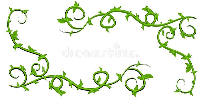 lövrika vines för konstgemgreen vektor illustrationer