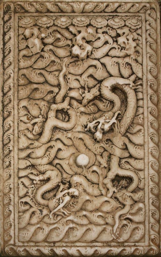 Lövsågsarbete i form av en drake på väggen i Forbiddenet City Peking, royaltyfri foto