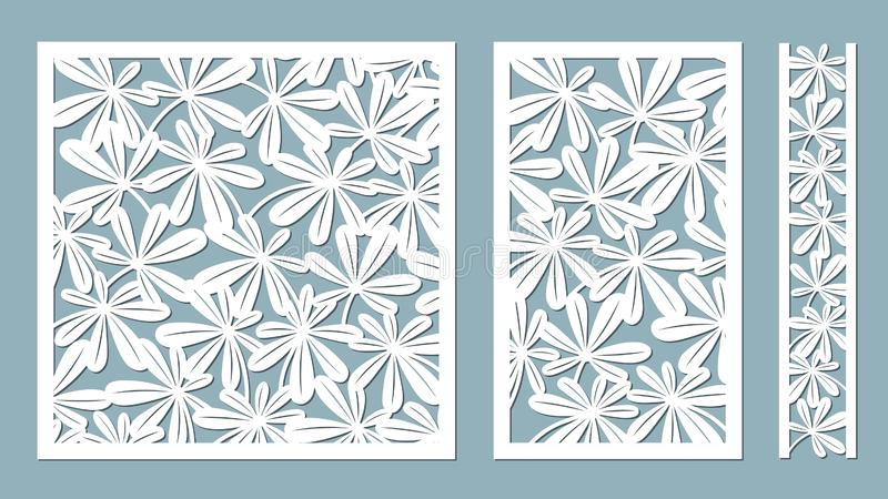 lövverk också vektor för coreldrawillustration Pappers- blomma, klistermärkear Laser-snitt Mall för laser-klipp och plottare ocks stock illustrationer