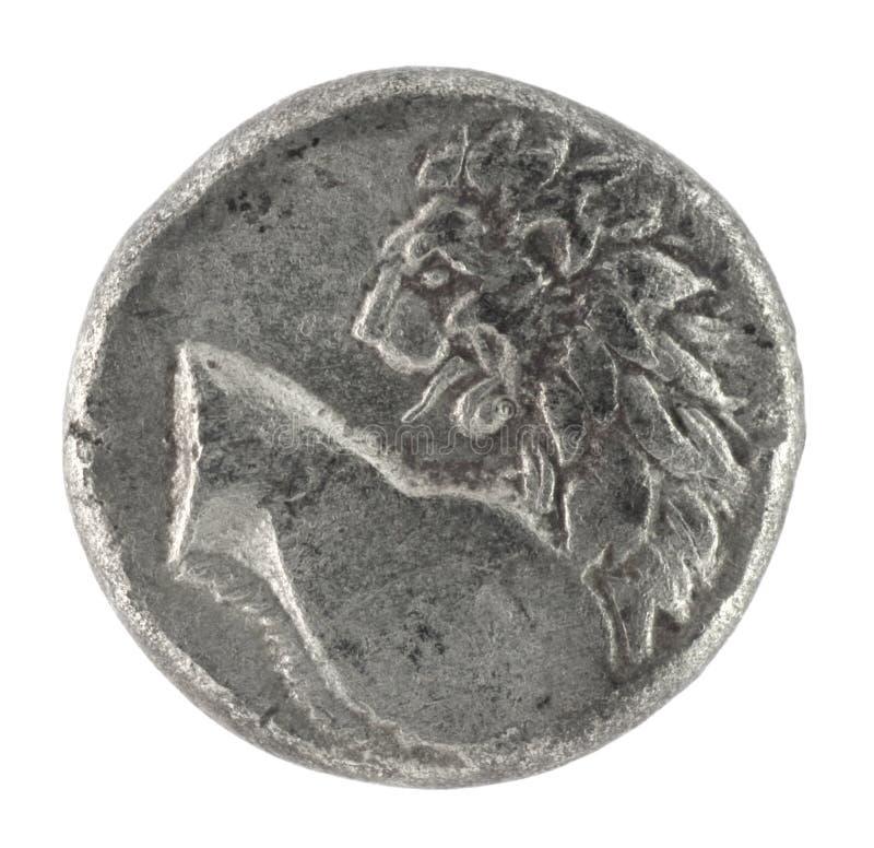 Löwe auf altgriechischem halbem Drachm 350 BC lizenzfreie stockbilder