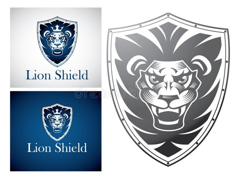 Löwe auf einem Schild lizenzfreie abbildung