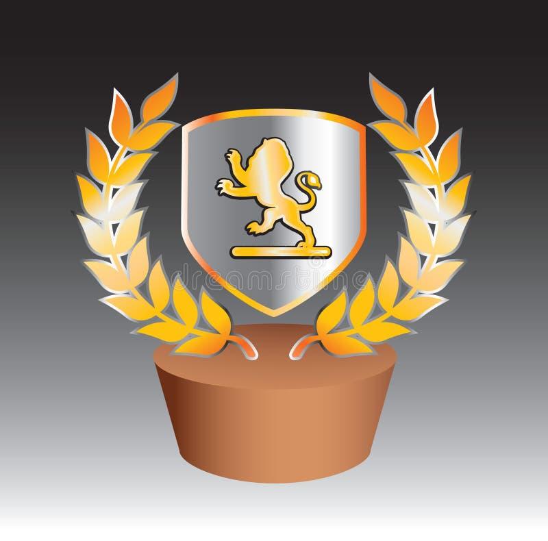 Löwe auf Schild mit Blättern auf Änderung am Objektprogramm stock abbildung