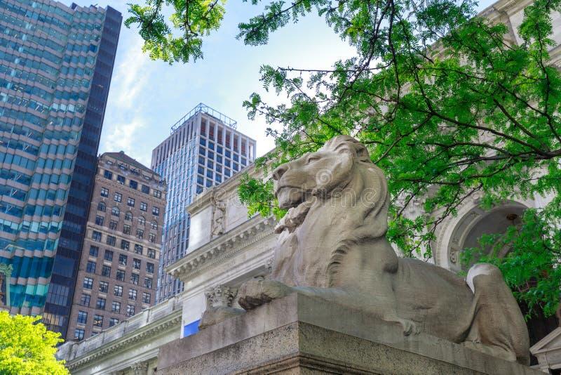Löwe, der die New- Yorköffentliche bibliothek in Manhattan schützt lizenzfreie stockfotografie