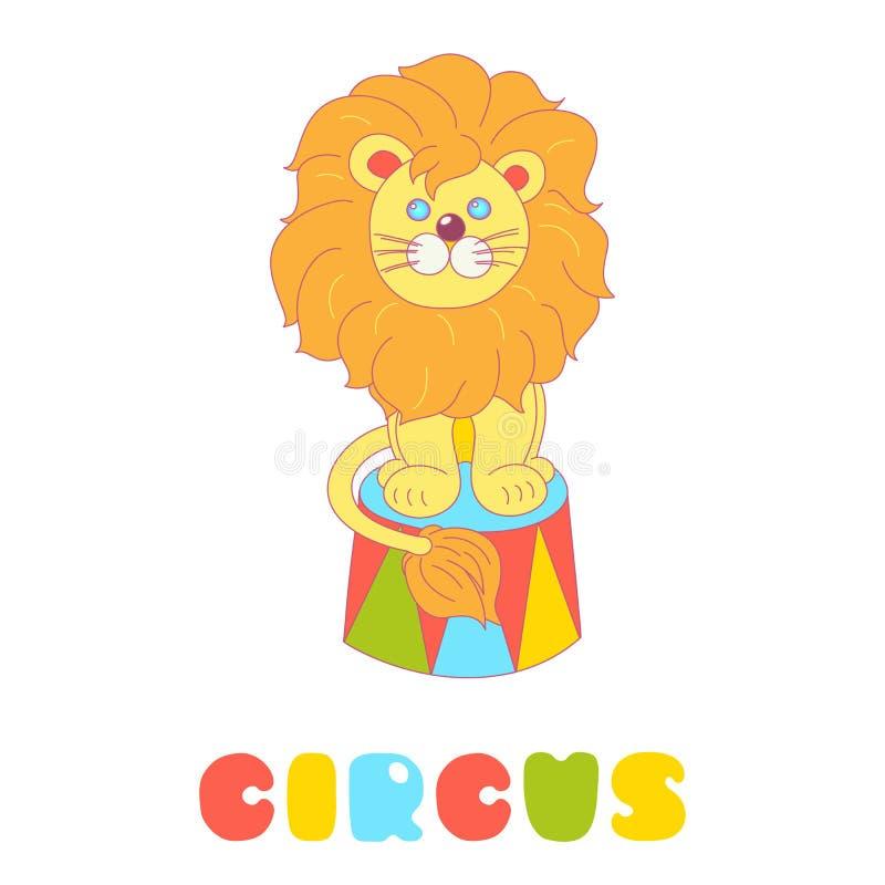 Löwe, der in einem Zirkusarenavektor lokalisiert auf Weiß sitzt vektor abbildung