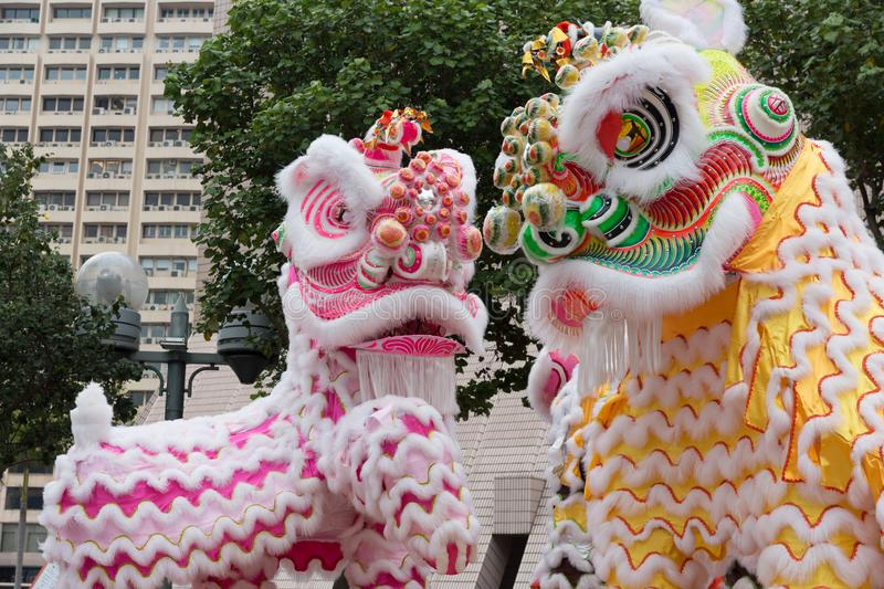 Löwe, Dragon Dance in Hong Kong, China stockbilder