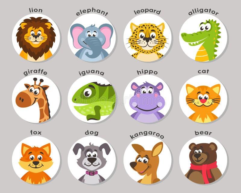 Löwe, Elefant, Leopard, Alligator, Giraffe, Leguan, Flusspferd, Katze, Fuchs, Hund, Känguru, Bär lizenzfreie abbildung