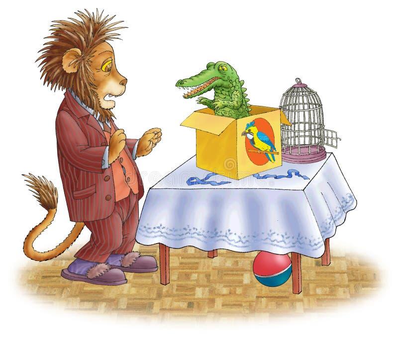 Löwe erschrocken und das Krokodil. lizenzfreie abbildung